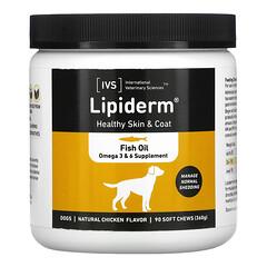 International Veterinary Sciences, Lipiderm,狗狗健康皮毛配方,天然雞肉味,90 片軟咀嚼片(360 克)