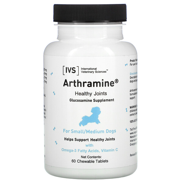 Arthramine, Glucosamine Supplement, For Small/Medium Dogs, 60 Chewable Tablets