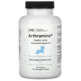 International Veterinary Sciences, Arthramine, Glucosamine Supplement, For Small/Medium Dogs, 120 Chewable Tablets