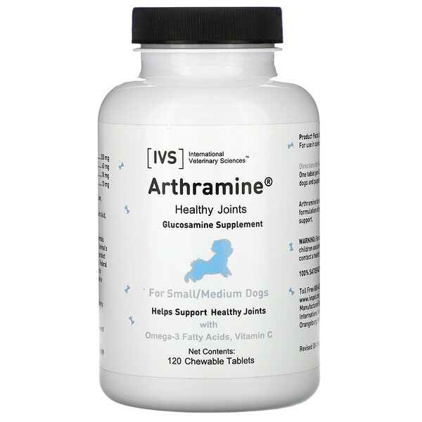 Arthramine, Glucosamine Supplement, For Small/Medium Dogs, 120 Chewable Tablets