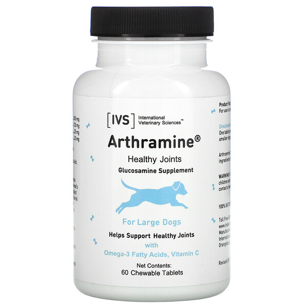 International Veterinary Sciences, Arthramine, Glucosamine Supplement, For Large Dogs, 60 Chewable Tablets
