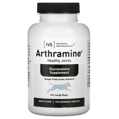 Купить International Veterinary Sciences Arthramine, Glucosamine Supplement, For Large Dogs, Beef, 120 Chewable Tablets