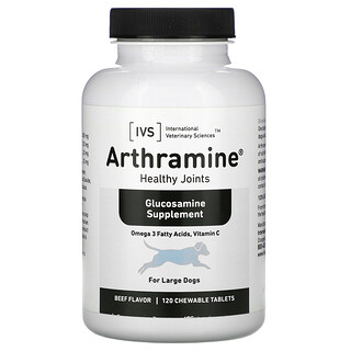 International Veterinary Sciences, Arthramine, Glucosamine Supplement, For Large Dogs, Beef, 120 Chewable Tablets