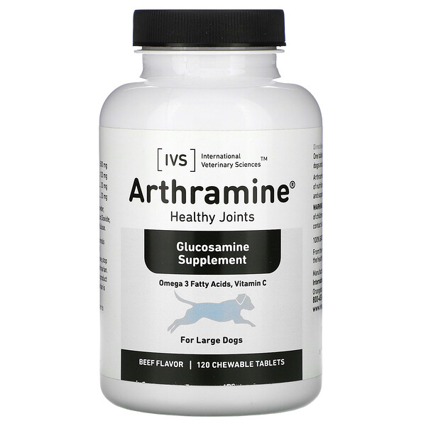 Arthramine, Glucosamine Supplement, For Large Dogs, Beef, 120 Chewable Tablets