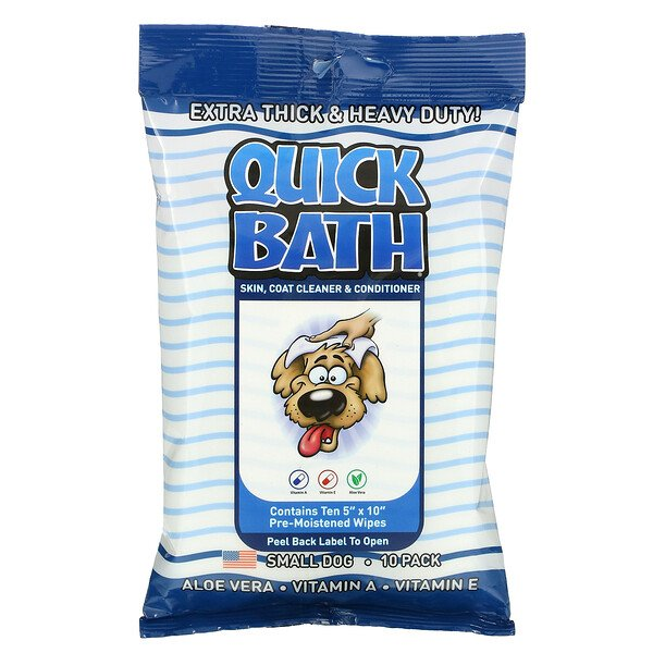 Quick Bath, Skin, Coat Cleaner & Conditioner, Small Dog, 10 Pack
