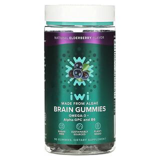 iWi, Brain Gummies, Omega-3 + Alpha-GPC And B6, Natural Elderberry, 90 Gummies