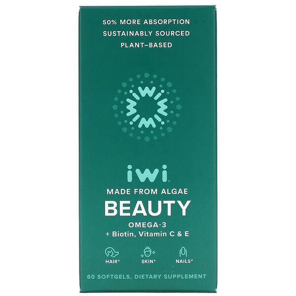Beauty, Omega-3 + Biotin, Vitamin C & E, 60 Softgels