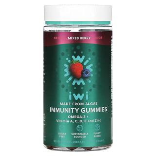 iWi, Immunity Gummies, Omega-3 + Vitamin A,C,D,E And Zinc, Mixed Berry, 90 Gummies