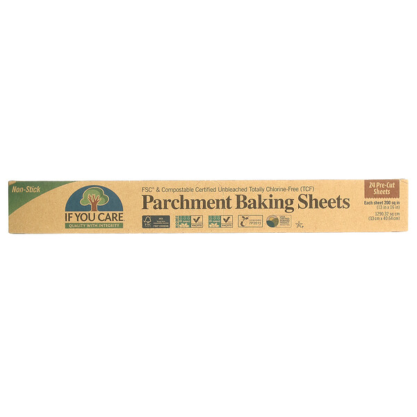 If You Care, Parchment Baking Sheets, 24 Pre-Cut Sheets, 200 sq in (12.5 in x 16 in) Each