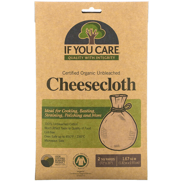"""If You Care, Organic Cheesecloth, Unbleached, 2 sq yards, (72""""x36"""")"""