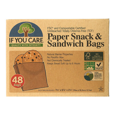 Купить If You Care Paper Snack & Sandwich Bags, 48 Bags