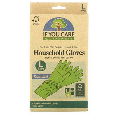 Купить If You Care Хозяйственные перчатки, многоразовые, большой размер, 1 пара