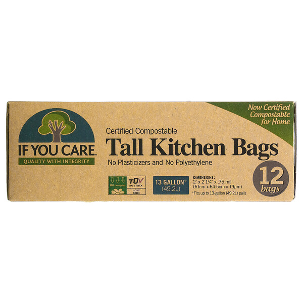 Compostable Tall Kitchen Bags, 12 Bags