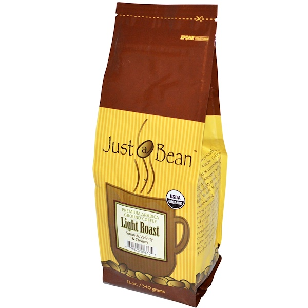 Just A Bean Organic Coffee, Light Roast, Ground, 12 oz (340 g) (Discontinued Item)