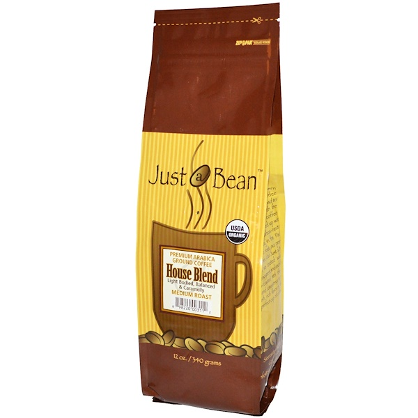Just A Bean Organic Coffee, Medium Roast, Ground, 12 oz (340 g) (Discontinued Item)