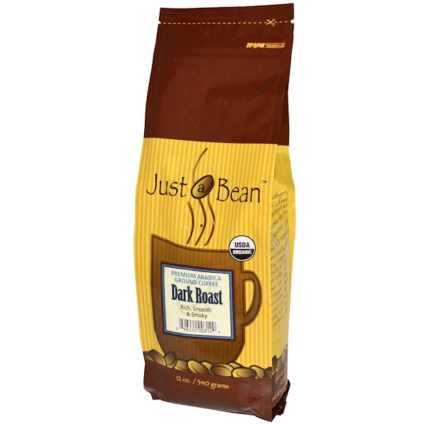 Just A Bean Organic Coffee, Dark Roast, Ground, 12 oz (340 g) (Discontinued Item)
