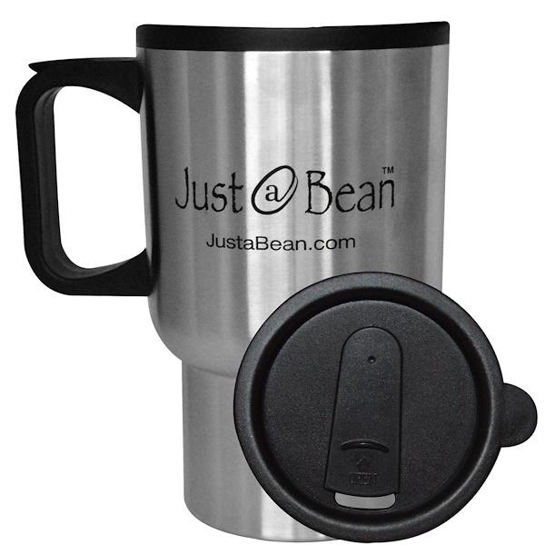 Just A Bean Organic Coffee, Travel Coffee Mug, 12 oz Mug (Discontinued Item)