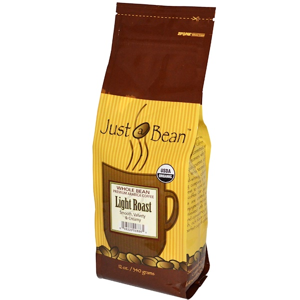 Just A Bean Organic Coffee, Light Roast, Whole Bean, 12 oz (340 g) (Discontinued Item)