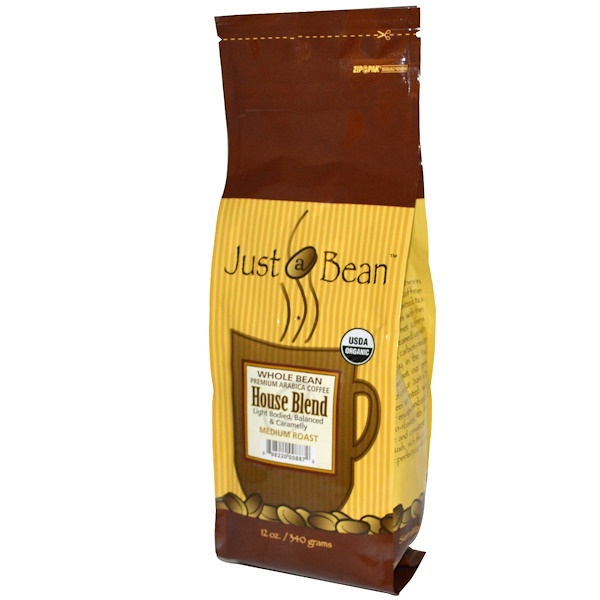 Just A Bean Organic Coffee, House Blend, Medium Roast, Whole Bean, 12 oz (340 g) (Discontinued Item)