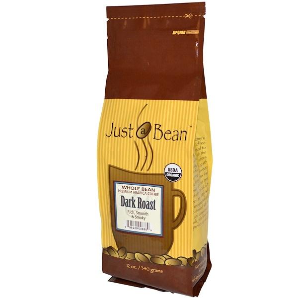 Just A Bean Organic Coffee, Dark Roast, Whole Bean, 12 oz (340 g) (Discontinued Item)