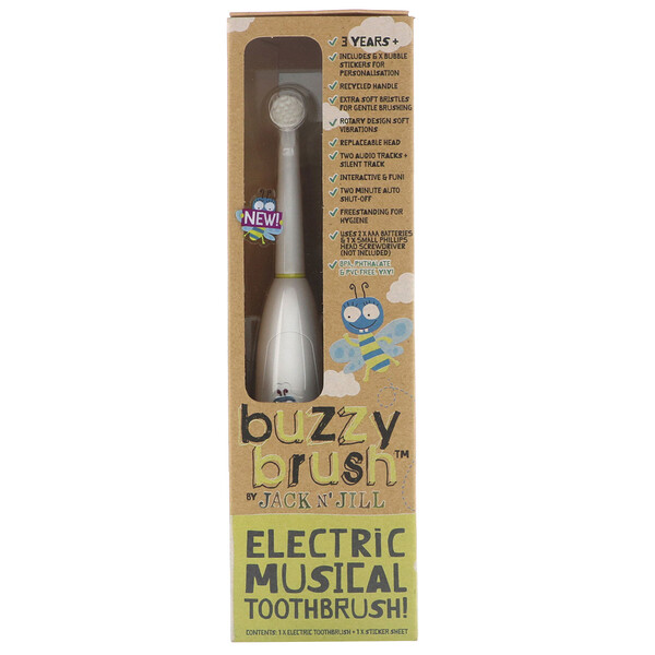 Buzzy Brush, Electric Musical Toothbrush, 1 Electric Toothbrush + 1 Sticker Sheet