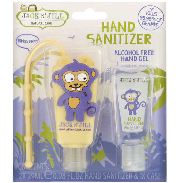 Jack n' Jill, Hand Sanitizer, Monkey, 2 Pack, 0.98 fl oz (29 ml) Each and 1 Case
