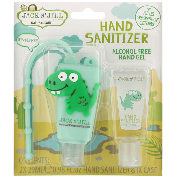 Jack n' Jill, Hand Sanitizer, Dino, 2 Pack, 0.98 fl oz (29 ml) Each and 1 Case