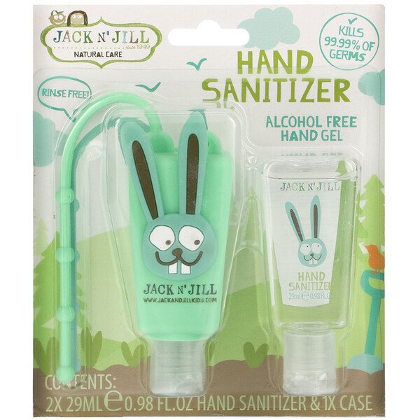 Jack n' Jill, Hand Sanitizer, Alcohol Free, Fragrance Free, Bunny, 2 Pack, 0.98 fl oz (29 ml) Each and 1 Case