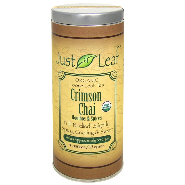 Just a Leaf Organic Tea, Crimson Chai, Rooibos & Spices, Caffeine Free, 4 oz (113 g) (Discontinued Item)