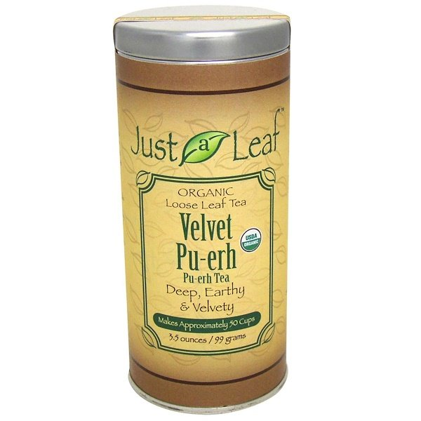 Just a Leaf Organic Tea, Velvet Pu-erh Tea, 3.5 oz (99 g) (Discontinued Item)