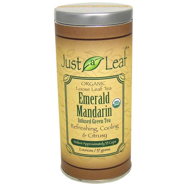 Just a Leaf Organic Tea, Té verde esmeralda con infusión de mandarina, 2 oz (57 g) (Discontinued Item)