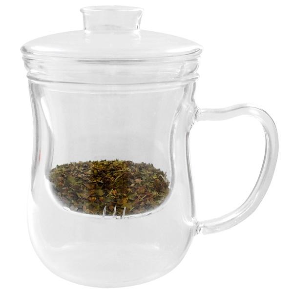 Just a Leaf Organic Tea, Tea Infuser, Glass Tea Cup with Strainer, 8 oz Tea Glass (Discontinued Item)