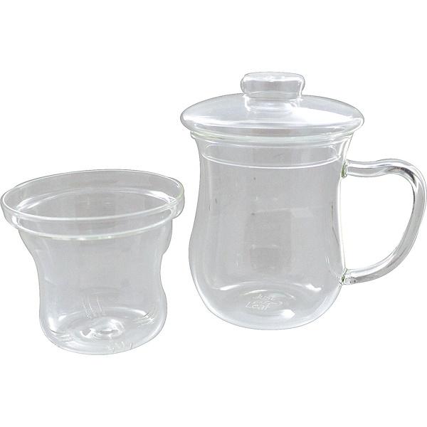Just a Leaf Organic Tea, ティーインフューザー, ストレーナー付きガラスティーカップ, 8オンス ティーグラス (Discontinued Item)