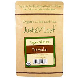 Just a Leaf Organic Tea, Loose Leaf, White Tea, Bai Mudan, 2 oz (56 g)