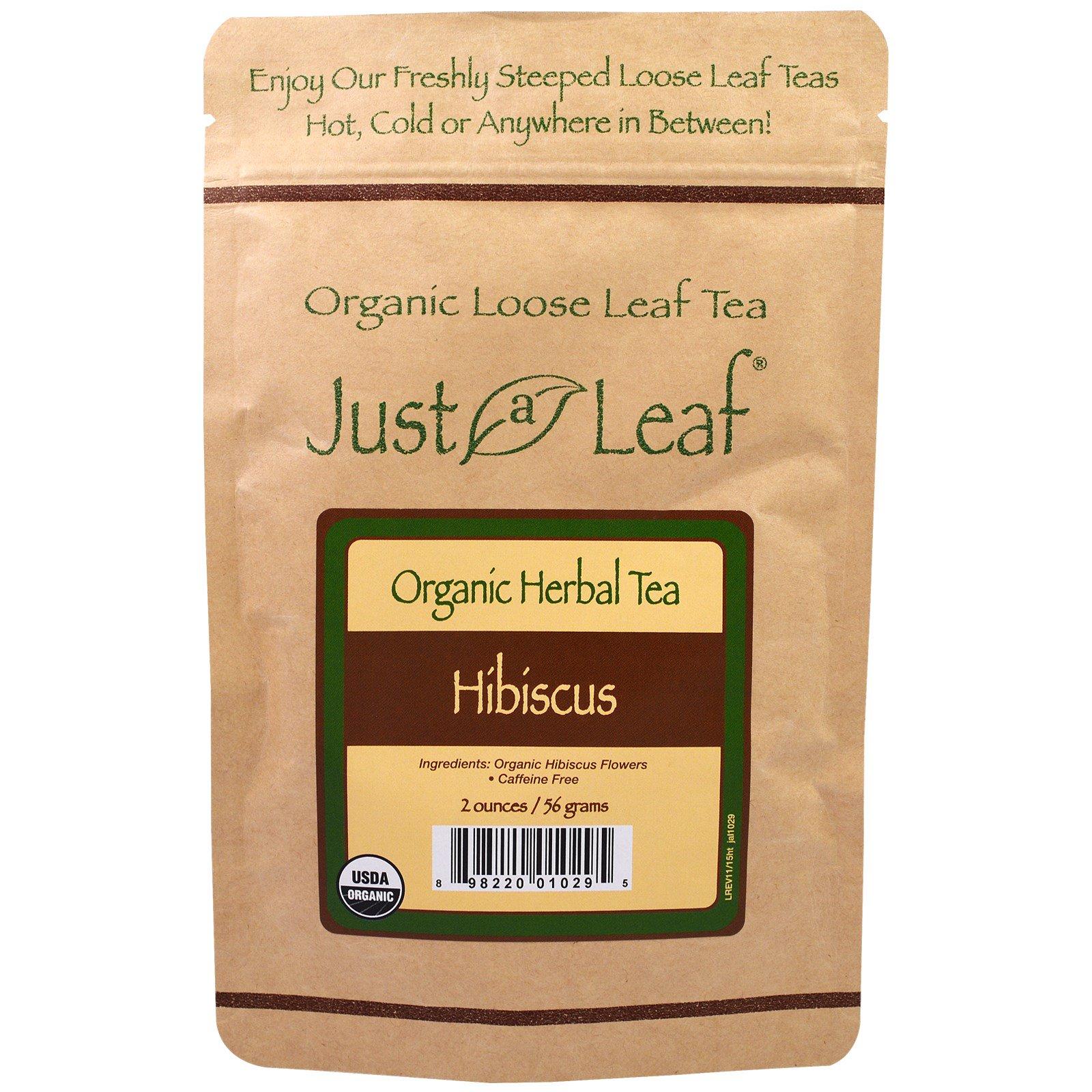 Just a Leaf Organic Tea, Листовой чай, травяной чай, Гибискус, 2 унции (56 г)
