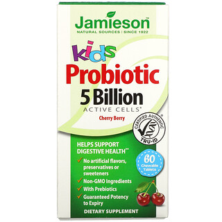 Jamieson Natural Sources, Kids, Probiotic, Cherry Berry, 5 Billion CFU Active Cells, 60 Chewable Tablets