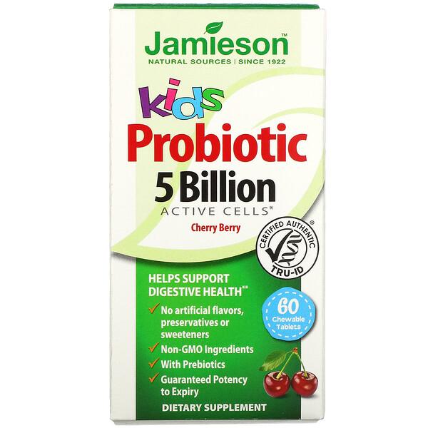 Kids, Probiotic, Cherry Berry, 5 Billion CFU Active Cells, 60 Chewable Tablets