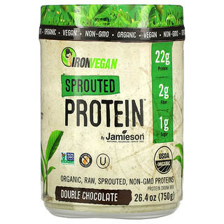 Jamieson Natural Sources, IronVegan, Sprouted Protein, Double Chocolate, 26.4 oz (750 g)