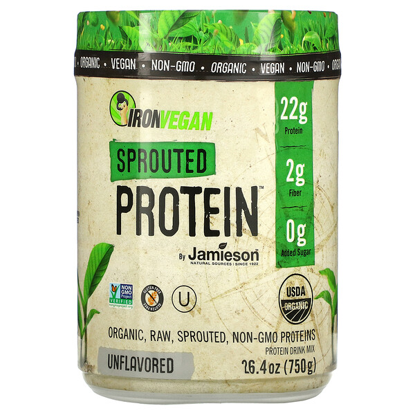 Jamieson Natural Sources, IronVegan, Sprouted Protein, Unflavored, 26.4 oz (750 g)