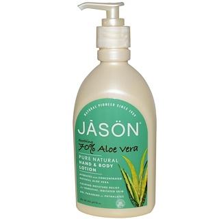 Jason Natural, Pure Natural Hand & Body Lotion, Soothing 70% Aloe Vera, 16 oz (454 g)