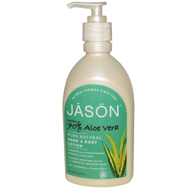 Jason Natural, Pure Natural Hand & Body Lotion, Soothing 70% Aloe Vera, 16 oz (454 g) (Discontinued Item)