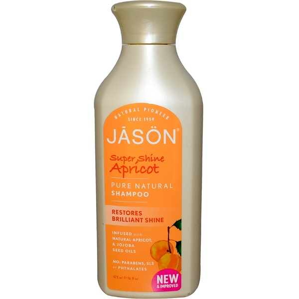 Jason Natural, Чистый, натуральный шампунь, супер блеск, абрикос, 16 жидких унций (473 мл) (Discontinued Item)