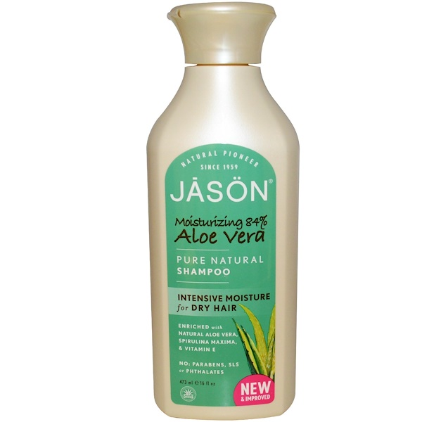 Jason Natural, Pure Natural Shampoo, Aloe Vera, 16 fl oz (473 ml)
