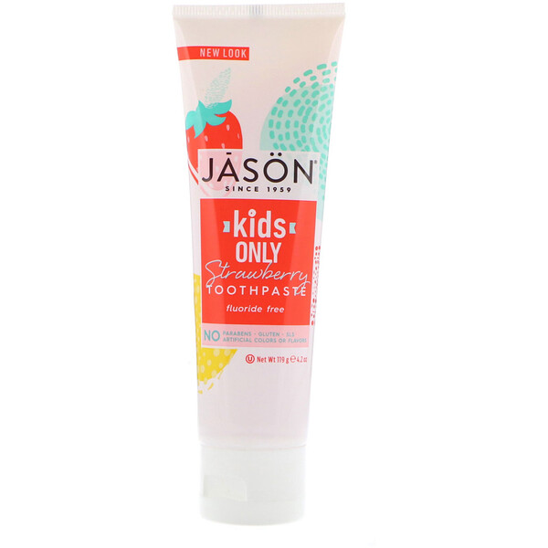 Jason Natural, Kids Only! Creme dental, Morango, 119 g (4,2 oz)