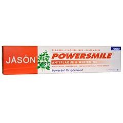 Jason Natural, PowerSmile, dentifrice antiplaque et blanchissant, menthe poivrée puissante, 170 g (6 oz)