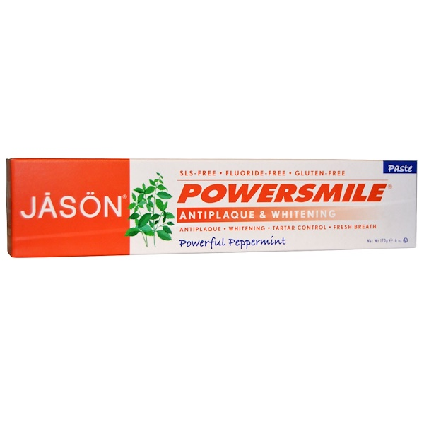 Jason Natural, PowerSmile, Antiplaque & Whitening Toothpaste, Powerful Peppermint, 6 oz (170 g)