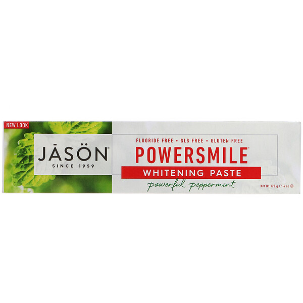 Jason Natural, PowerSmile، معجون أسنان مضاد للبقع ومُبيّض، نعناع قوي، 6 أونصة (170 جم)