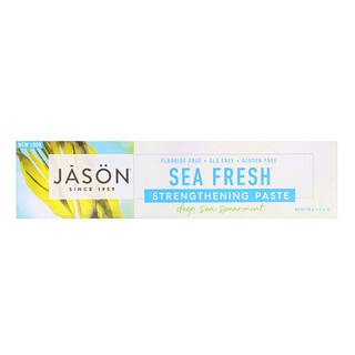Jason Natural, Pasta Fortalecedora Antiplaca Sea Fresh, Hortelã Fundo do Mar, 6 oz (170 g)