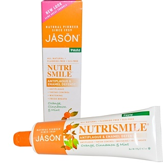 Jason Natural, NutriSmile, Antiplaque & Enamel Defense, Paste, Orange, Cinnamon & Mint, 4.2 oz (119 g)