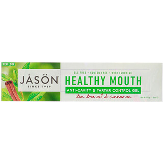 Jason Natural, Healthy Mouth, Anti-Cavity & Tartar Control Gel, Tea Tree Oil & Cinnamon, 6 oz (170 g)